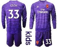 Kids 19-20 Soccer Arsenal Club #33 Cech Purple Goalkeeper Long Sleeve Suit Jersey