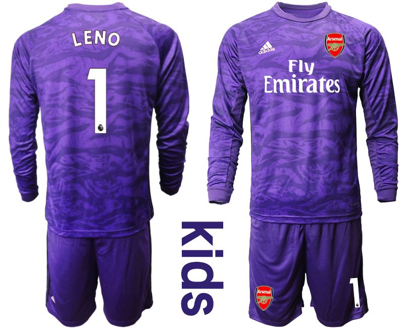 Kids 19-20 Soccer Arsenal Club #1 Leno Purple Goalkeeper Long Sleeve Suit Jersey