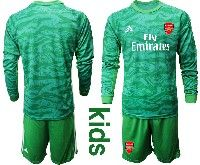 Kids 19-20 Soccer Arsenal Club Blank Green Goalkeeper Long Sleeve Suit Jersey