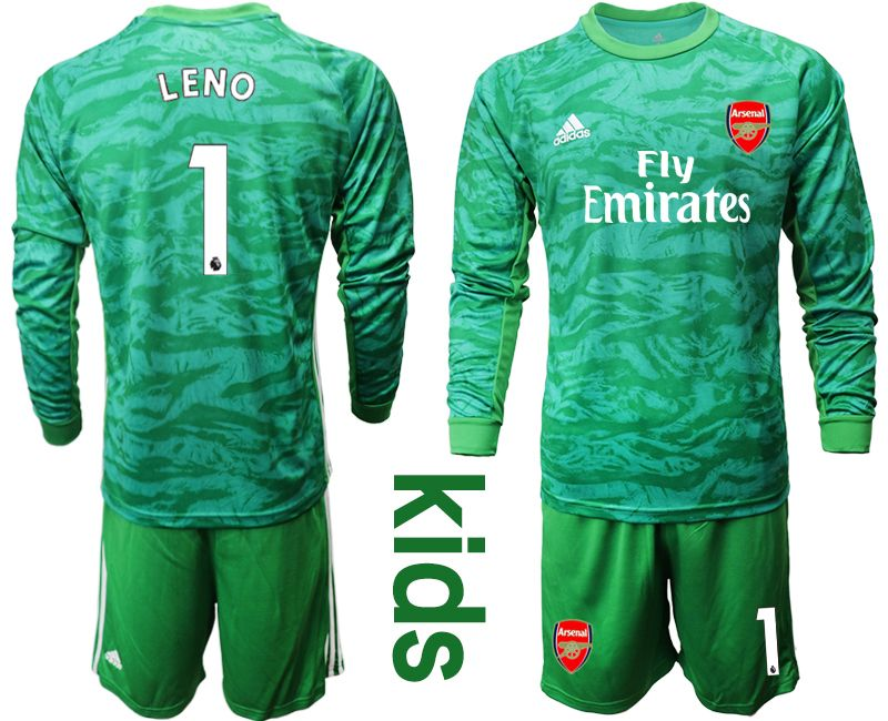 Kids 19-20 Soccer Arsenal Club #1 Leno Green Goalkeeper Long Sleeve Suit Jersey