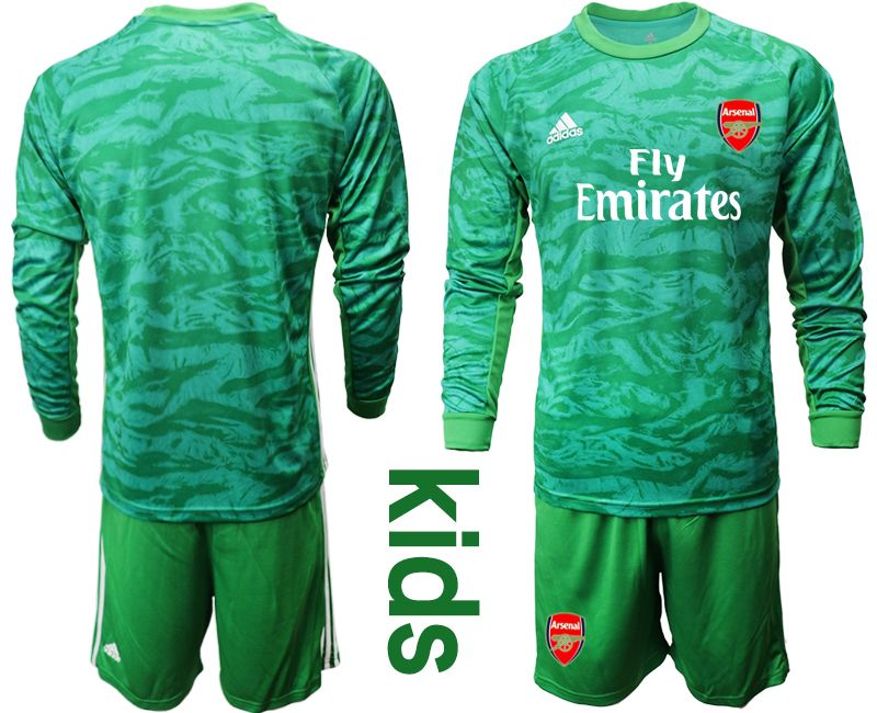 Baby 19-20 Soccer Arsenal Club Blank Green Goalkeeper Long Sleeve Suit Jersey