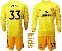 Kids 19-20 Soccer Arsenal Club #33 Cech Yellow Goalkeeper Long Sleeve Suit Jersey