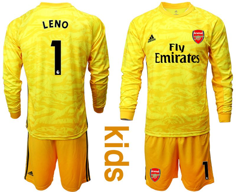 Kids 19-20 Soccer Arsenal Club #1 Leno Yellow Goalkeeper Long Sleeve Suit Jersey