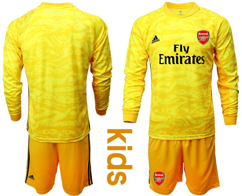 Kids 19-20 Soccer Arsenal Club Blank Yellow Goalkeeper Long Sleeve Suit Jersey