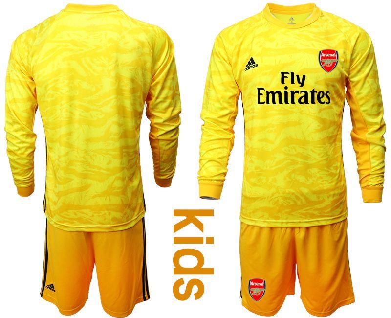 Kids 19-20 Soccer Arsenal Club Blank Black Goalkeeper Long Sleeve Suit Jersey