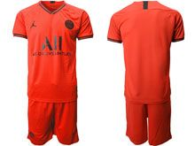 Mens 19-20 Soccer Paris Saint Germain ( Custom Made ) Red Away Short Sleeve Suit Jersey