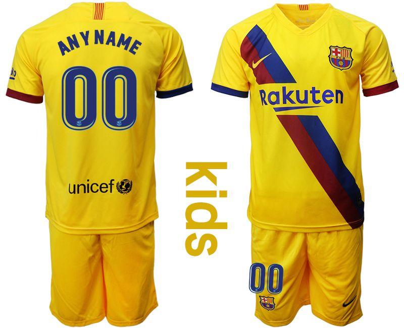 Kids 19-20 Soccer Barcelona Club ( Custom Made ) Yellow Away Short Sleeve Suit Jersey