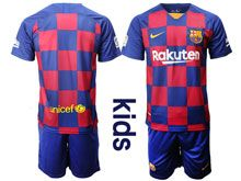 Kids 19-20 Soccer Barcelona Club ( Custom Made ) Red And Blue Stripe Home Short Sleeve Suit Jersey