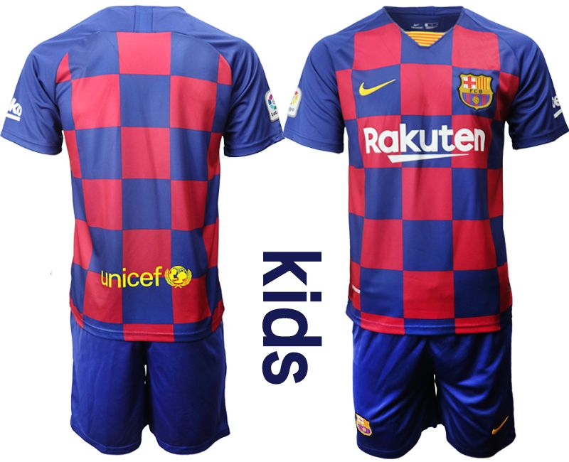 Kids 19-20 Soccer Barcelona Club Current Player Red And Blue Stripe Home Short Sleeve Suit Jersey