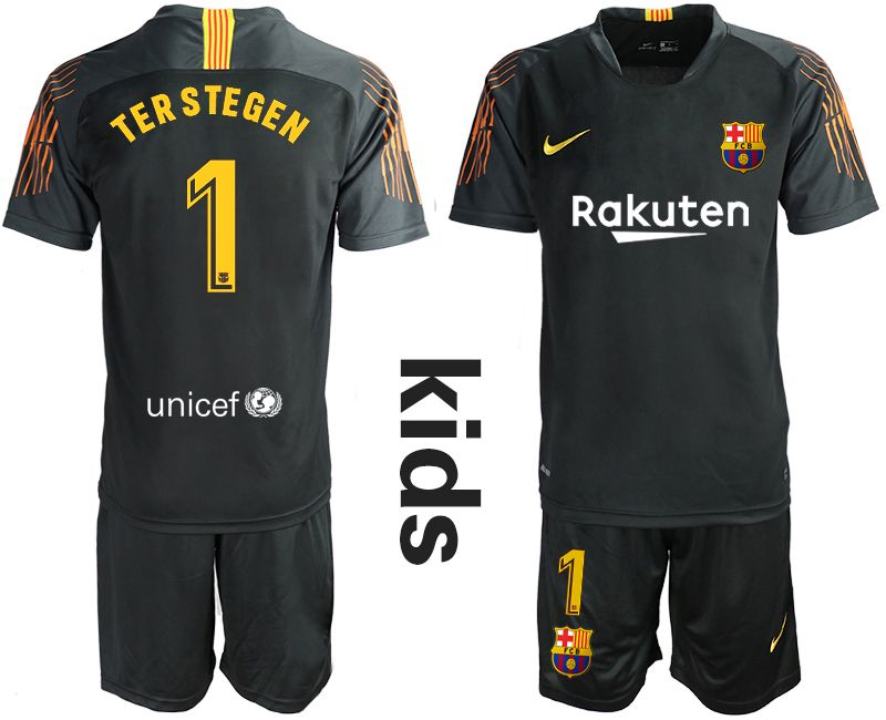 Youth 19-20 Soccer Barcelona Club #1 Terstegen Black Goalkeeper Short Sleeve Suit Jersey