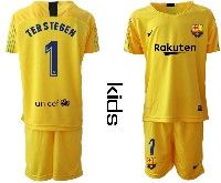 Youth 19-20 Soccer Barcelona Club #1 Terstegen Yellow Goalkeeper Short Sleeve Suit Jersey