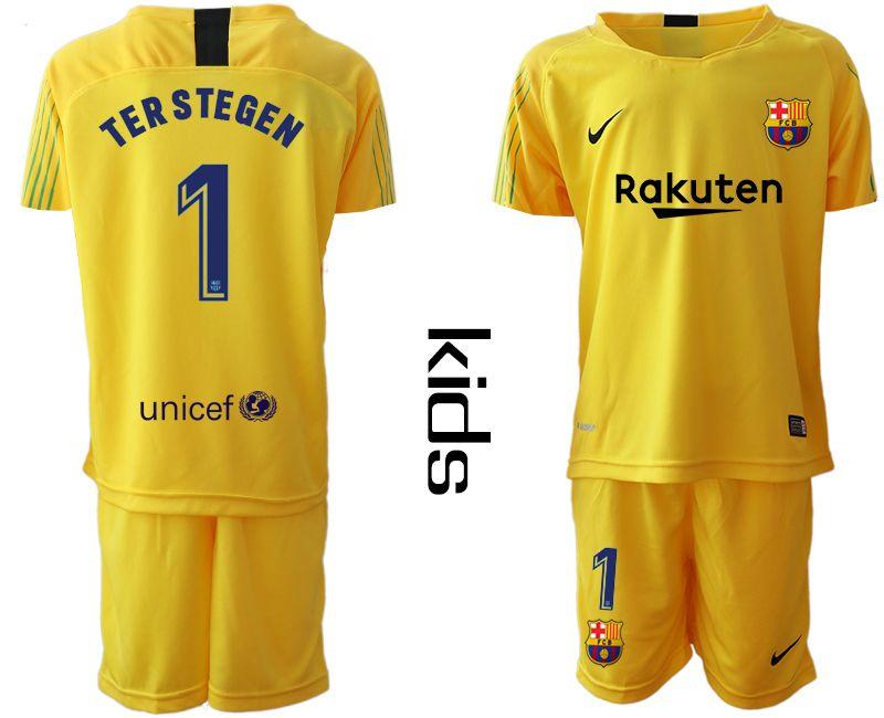 Youth 19-20 Soccer Barcelona Club #1 Terstegen Yellow Goalkeeper Short Sleeve Suit Jersey