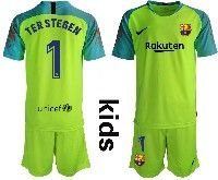 Youth 19-20 Soccer Barcelona Club #1 Terstegen Green Goalkeeper Short Sleeve Suit Jersey