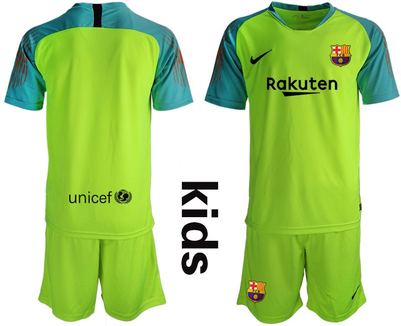 Youth 19-20 Soccer Barcelona Club Blank Green Goalkeeper Short Sleeve Suit Jersey