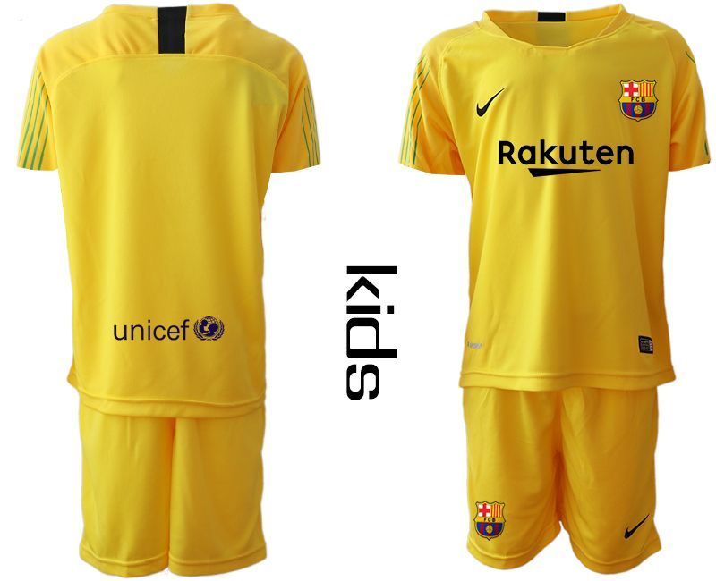 Youth 19-20 Soccer Barcelona Club Blank Yellow Goalkeeper Short Sleeve Suit Jersey