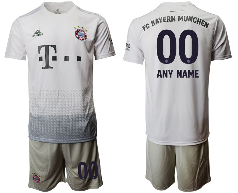 Mens 19-20 Soccer Bayern Munchen ( Custom Made ) Gray Away Short Sleeve Suit Jersey