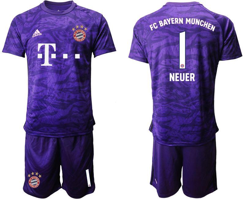 Mens 19-20 Soccer Bayern Munchen #1 Neuer Purple Goalkeeper Short Sleeve Suit Jersey