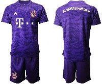 Mens 19-20 Soccer Bayern Munchen Blank Purple Goalkeeper Short Sleeve Suit Jersey