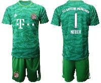 Mens 19-20 Soccer Bayern Munchen #1 Neuer Army Green Goalkeeper Short Sleeve Suit Jersey