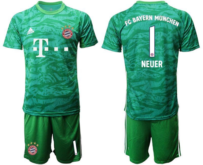 Mens 19-20 Soccer Bayern Munchen #1 Neuer Army Green Goalkeeper Short Sleeve Suit Jersey