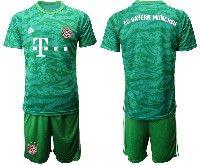 Mens 19-20 Soccer Bayern Munchen Blank Army Green Goalkeeper Short Sleeve Suit Jersey