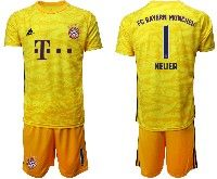 Mens 19-20 Soccer Bayern Munchen #1 Neuer Yellow Goalkeeper Short Sleeve Suit Jersey