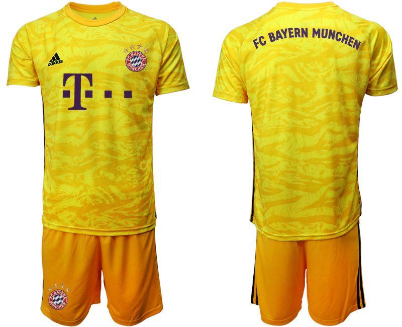Mens 19-20 Soccer Bayern Munchen Blank Yellow Goalkeeper Short Sleeve Suit Jersey