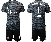 Mens 19-20 Soccer Bayern Munchen #1 Neuer Black Goalkeeper Short Sleeve Suit Jersey