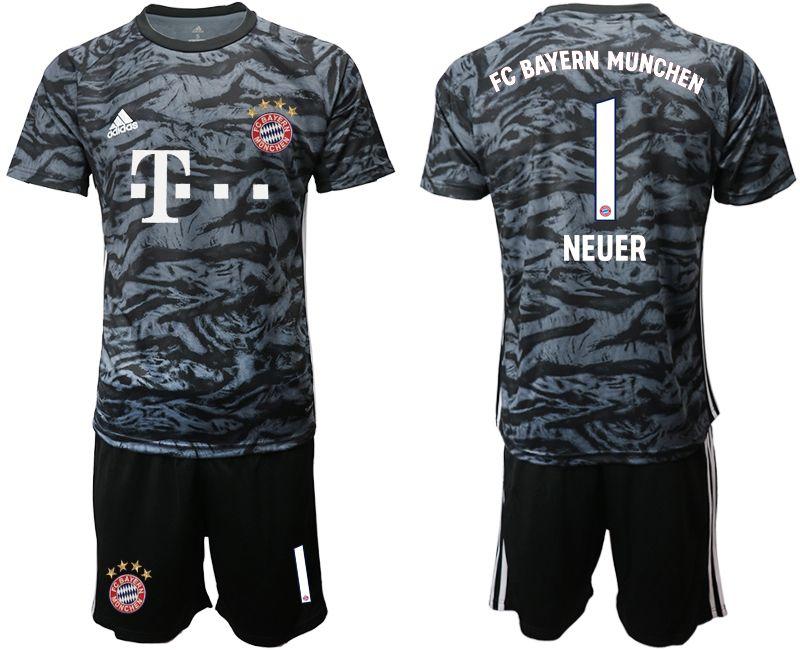 Mens 19-20 Soccer Bayern Munchen #1 Neuer Black Goalkeeper Short Sleeve Suit Jersey