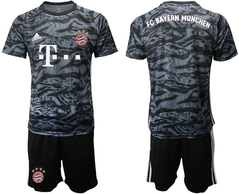 Mens 19-20 Soccer Bayern Munchen Blank Black Goalkeeper Short Sleeve Suit Jersey