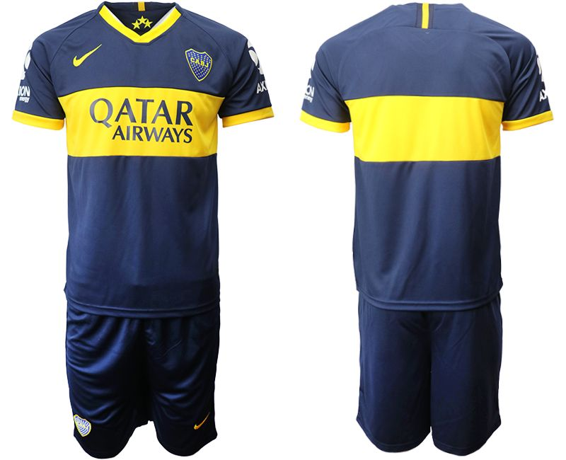 Mens 19-20 Soccer Atletico Boca Juniors ( Custom Made ) Blue Home Short Sleeve Suit Jersey