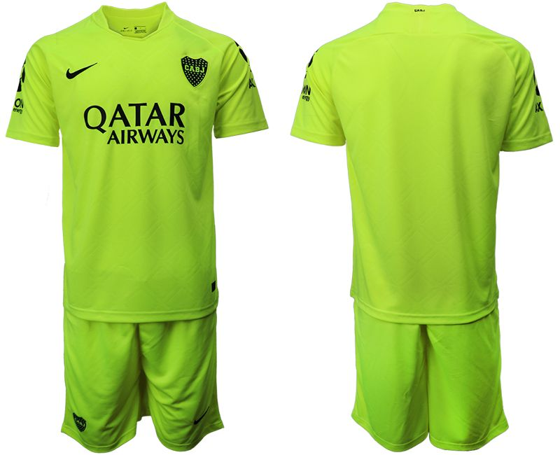 Mens 19-20 Soccer Atletico Boca Juniors ( Custom Made ) Green Second Away Short Sleeve Suit Jersey