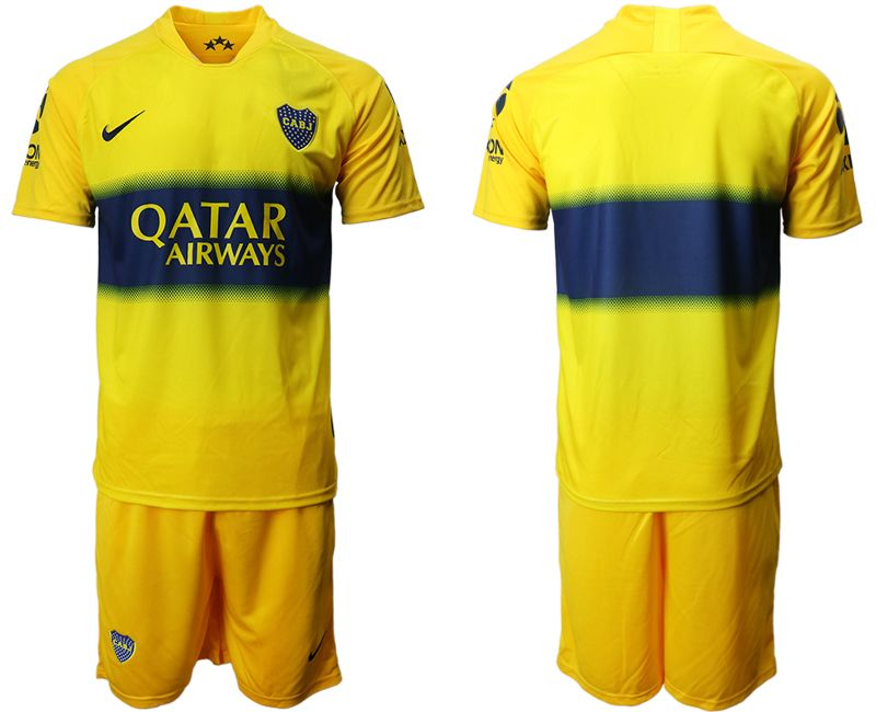 Mens 19-20 Soccer Atletico Boca Juniors ( Custom Made ) Yellow Away Short Sleeve Suit Jersey