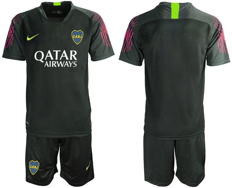 Mens 19-20 Soccer Atletico Boca Juniors ( Custom Made ) Black Goalkeeper Short Sleeve Suit Jersey