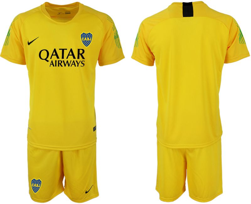 Mens 19-20 Soccer Atletico Boca Juniors ( Custom Made ) Yellow Goalkeeper Short Sleeve Suit Jersey