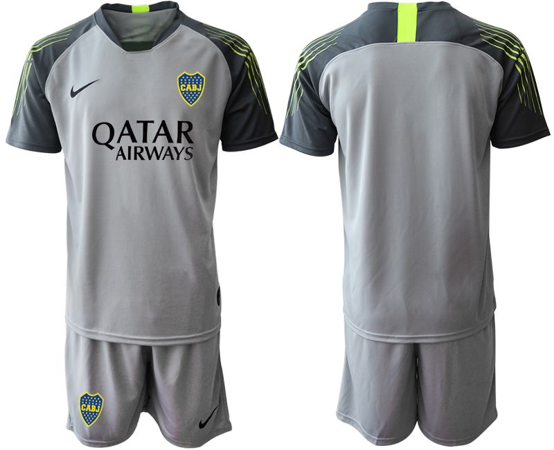 Mens 19-20 Soccer Atletico Boca Juniors ( Custom Made ) Gray Goalkeeper Short Sleeve Suit Jersey