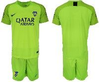 Mens 19-20 Soccer Atletico Boca Juniors ( Custom Made ) Fluorescence Green Goalkeeper Short Sleeve Suit Jersey