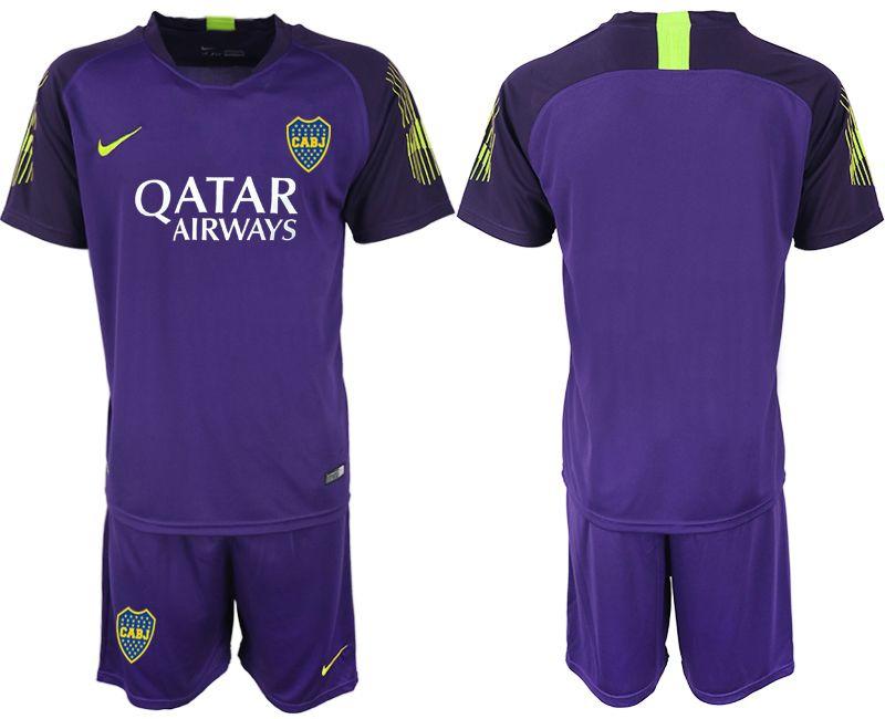 Mens 19-20 Soccer Atletico Boca Juniors ( Custom Made ) Purple Goalkeeper Short Sleeve Suit Jersey