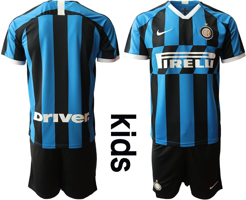 Kids 19-20 Soccer Inter Milan Club ( Custom Made ) Blue And Black Stripe Home Short Sleeve Suit Jersey