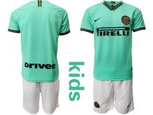 Kids 19-20 Soccer Inter Milan Club ( Custom Made ) Green Stripe Away Short Sleeve Suit Jersey