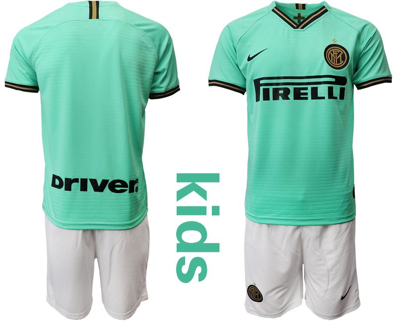 Kids 19-20 Soccer Inter Milan Club Current Player Green Stripe Away Short Sleeve Suit Jersey