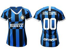 Women 19-20 Soccer Inter Milan Club ( Custom Made ) Blue And Black Stripe Home Jersey
