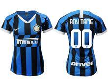 Women 19-20 Soccer Inter Milan Club ( Custom Made ) Blue And Black Stripe Home Jersey