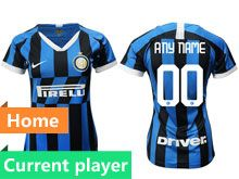 Women 19-20 Soccer Inter Milan Club Current Player Blue And Black Stripe Home Jersey