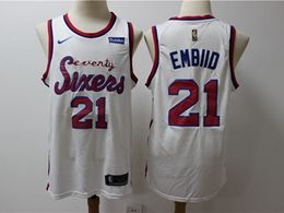 Mens Nba Philadelphia 76ers #21 Joel Embiid White Hardwood Classics Nike Swingman Jersey