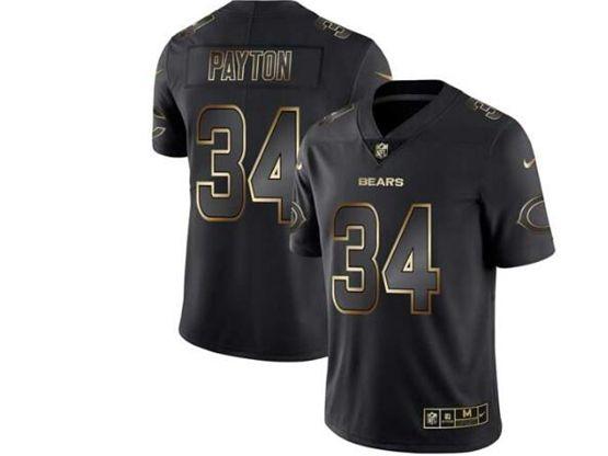 Mens Nfl Chicago Bears #34 Walter Payton Black Gold Vapor Untouchable Limited Jersey