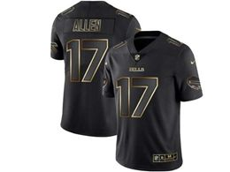 Mens Nfl Buffalo Bills #17 Josh Allen Black Gold Vapor Untouchable Limited Jersey