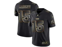 Mens Kansas City Chiefs #15 Patrick Mahomes Black Gold Vapor Untouchable Limited Jersey