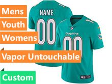 Mens Women Youth Nfl Miami Dolphins Green Custom Made Vapor Untouchable Limited Jersey