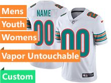 Mens Women Youth 2019 New Nfl Miami Dolphins White Custom Made Vapor Untouchable Limited Jersey